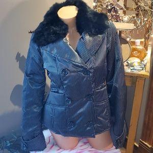 Bebe pin striped down rabbit fur coat M EUC